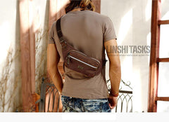 Navy Blue Canvas Leather Fanny Pack Women's Small Khaki Canvas Chest Bag Sling Hip Bag Waist Bag For Men