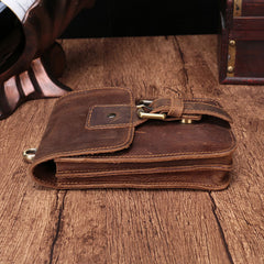 Cool Brown Leather Men's Belt Pouch Cell Phone Holster Small Belt Bag Waist Bag For Men