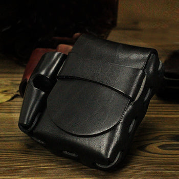 Cool Leather Mens Cigarette Holder Cigarette Case with Belt Loop Lighter Holder for Men