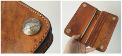 [On Sale] Handmade Mens Long Biker Wallets with Chain Cool Zipper Leather Biker Chain Wallet