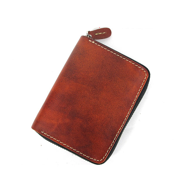 [On Sale] Handmade Cool Mens Leather Small Wallet Short Wallet with Zippers