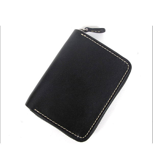 [On Sale] Handmade Cool Mens Leather Small Wallets Short Wallet with Zippers