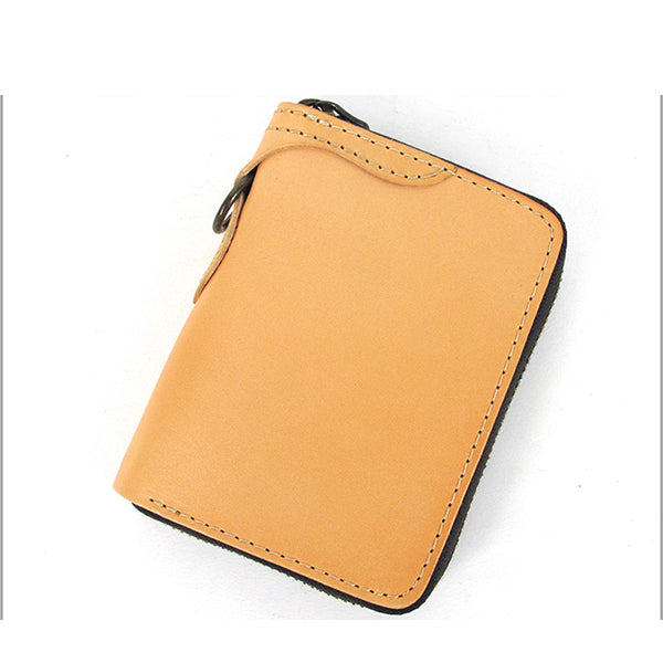 [On Sale] Handmade Mens Leather Biker Chain Wallets Cool Small Biker Wallet with Zipper