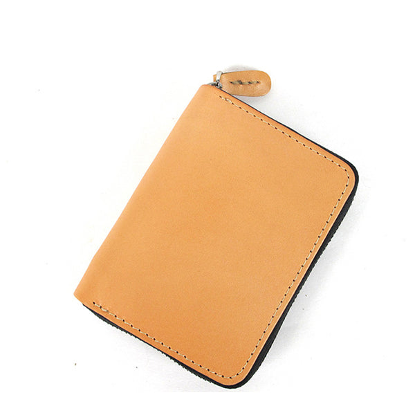 [On Sale] Handmade Cool Mens Leather Small Wallet Short Wallets with Zippers