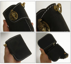 [On Sale] Handmade Mens Leather Small Biker Chain Wallet Cool Short Biker Wallets with Chain