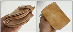[On Sale] Handmade Mens Leather Small Biker Chain Wallets Cool Short Biker Wallets with Chain