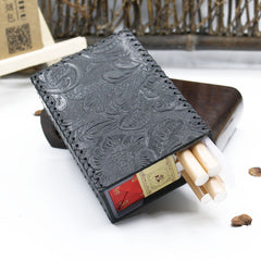 Cool Handmade Leather Mens Floral Engraved Black Cigarette Holder Case for Men