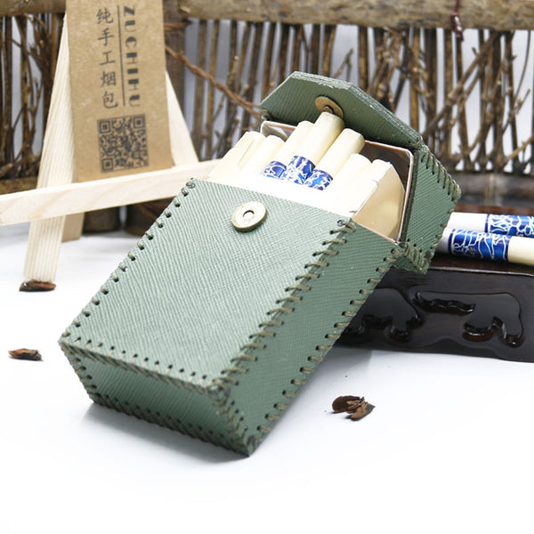 Cool Cigarette Holder Handmade Leather Mens Green Cigarette Holder Cases for Men