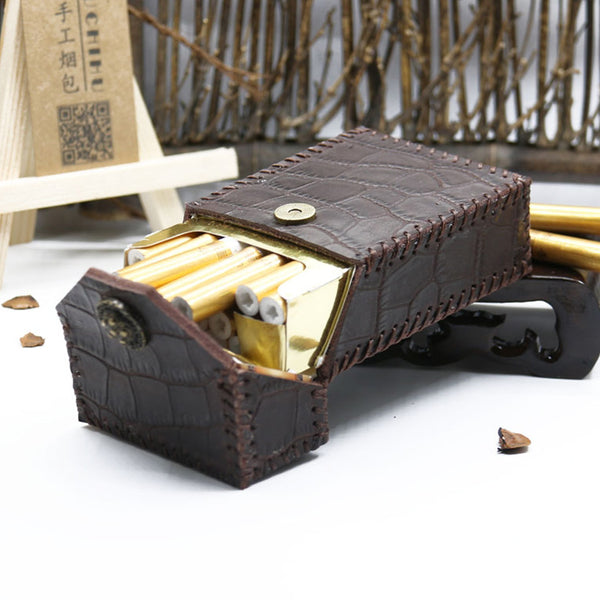 Cool Cigarette Holder Handmade Leather Mens Coffee Cigarette Holder Cases for Men