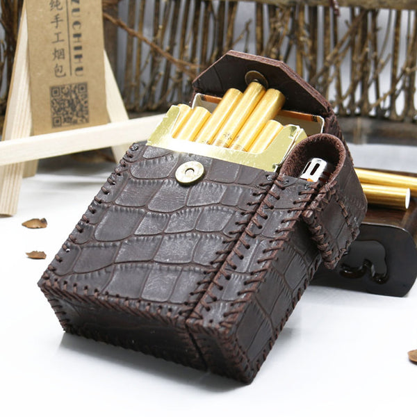 Cool Handmade Leather Mens Coffee Cigarette Holder Case with Lighter holder for Men