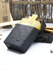 Cool Leather Cigarette Holder Handmade Leather Mens Black Cigarette Holder Case for Men