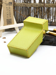 Cute Handmade Leather Womens Green Cigarette Holder Case for Women
