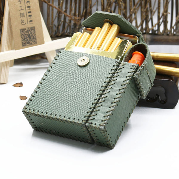 Cool Handmade Leather Mens Green Cigarette Holder Case with Lighter holder for Men