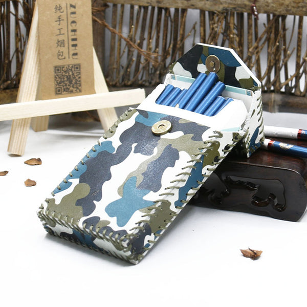 Handmade Camouflage Leather Womens Cigarette Holder Case for Women