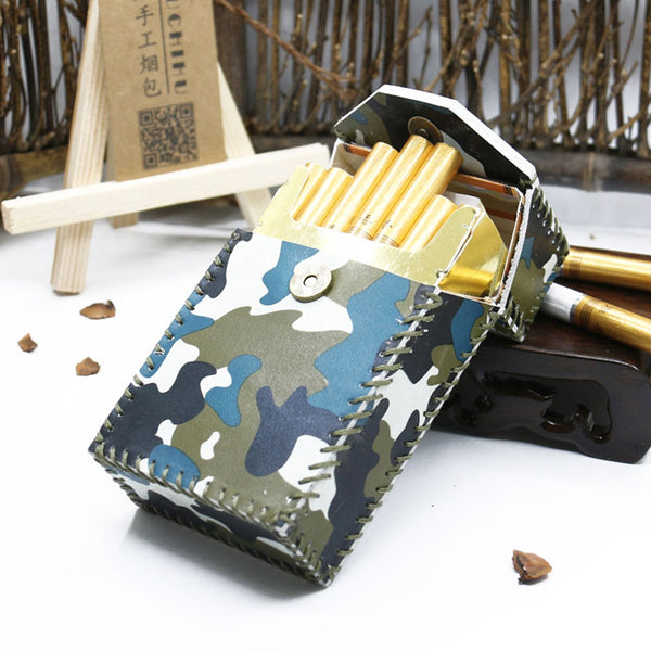 Handmade Leather Cigarette Holder Mens Camouflage Cool Cigarette Holder Case for Men