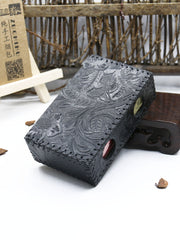 Cool Cigarette Holder Handmade Leather Mens Black Floral Cigarette Holder Cases for Men