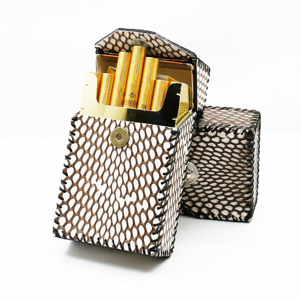 Cool Leather Cigarette Holder Mens Snake Skin Handmade Cigarette Holder Case for Men