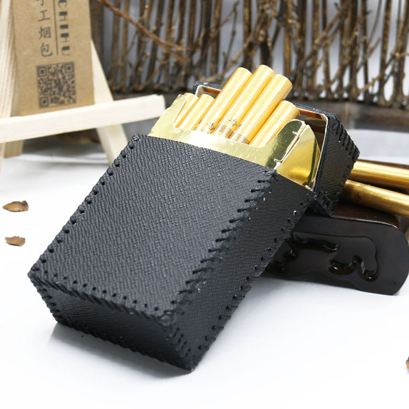 Cool Handmade Leather Cigarette Holder Mens Black Cigarette Holder Case for Men