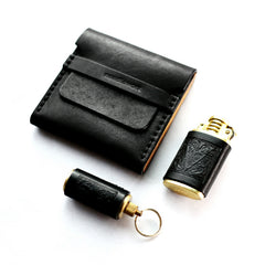 Cool Black Leather Mens Cigarette Case Wooden Custom Cigarette Holder for Men