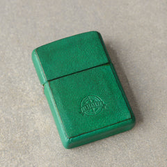 Cool Mens Green Leather Zippo Lighter Case Handmade Custom Zippo lighter Holder for Men