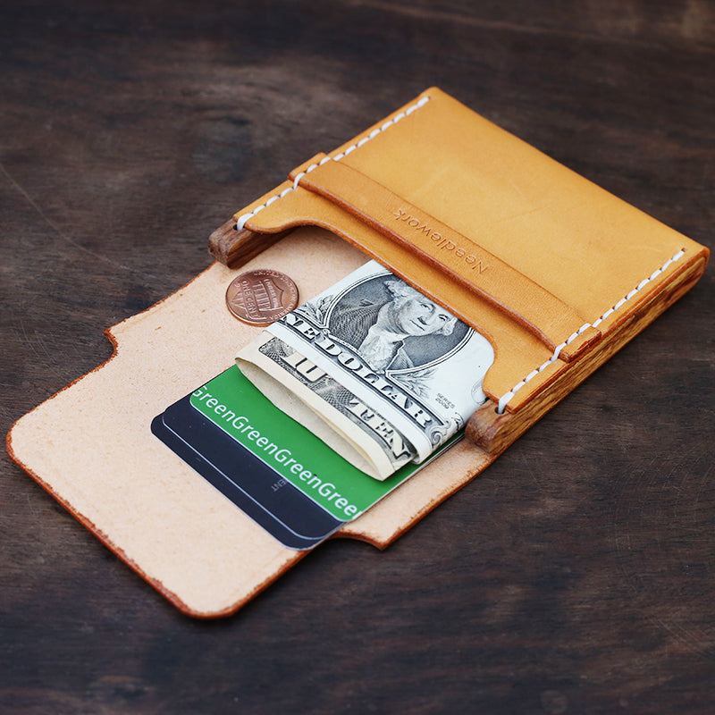 Cool Wooden Brown Leather Mens Wallet Small Card Holder Coin Wallet for Men