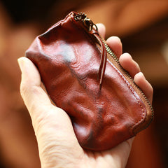Vintage Slim Coffee Leather Mens Coin Wallet Zipper Coin Holder Change Pouch For Men