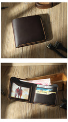 Handmade Slim Blue Leather Mens Billfold Wallet Personalize Bifold Small Wallets for Men