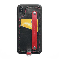 Handmade Red Leather iPhone X Case with Card Holder CONTRAST COLOR iPhone X Leather Case