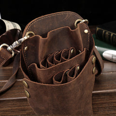 Cool Leather Belt Pouch Mens Hairstylist Tool Barber Pouch Scissor Case for Men