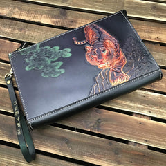Black Handmade Tooled Leather Tiger Clutch Wallet Wristlet Bag Clutch Purse For Men