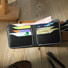 Handmade Slim Black Leather Mens Billfold Wallet Personalize Bifold Small Wallets for Men