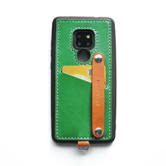 Handmade Green Leather Huawei Mate 20 X Case with Card Holder CONTRAST COLOR Huawei Mate 20 X Leather Case