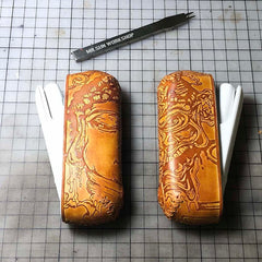 Handmade Tooled Constandine Leather Mens IQOS 3.0 Cigarette Case IQOS3.0 Holder for Men