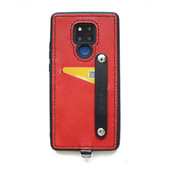 Handmade Red Leather Huawei Mate 20 Case with Card Holder CONTRAST COLOR Huawei Mate 20 Leather Case