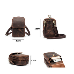 Cool Brown Leather Men's Small Belt Pouch Cell Phone Holster Belt Bag Mini Messenger Bag Side Bag For Men