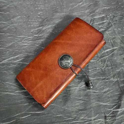 Vintage Brown Leather Men's Bifold Long Wallet Black Flip Long Wallet Clutch For Men