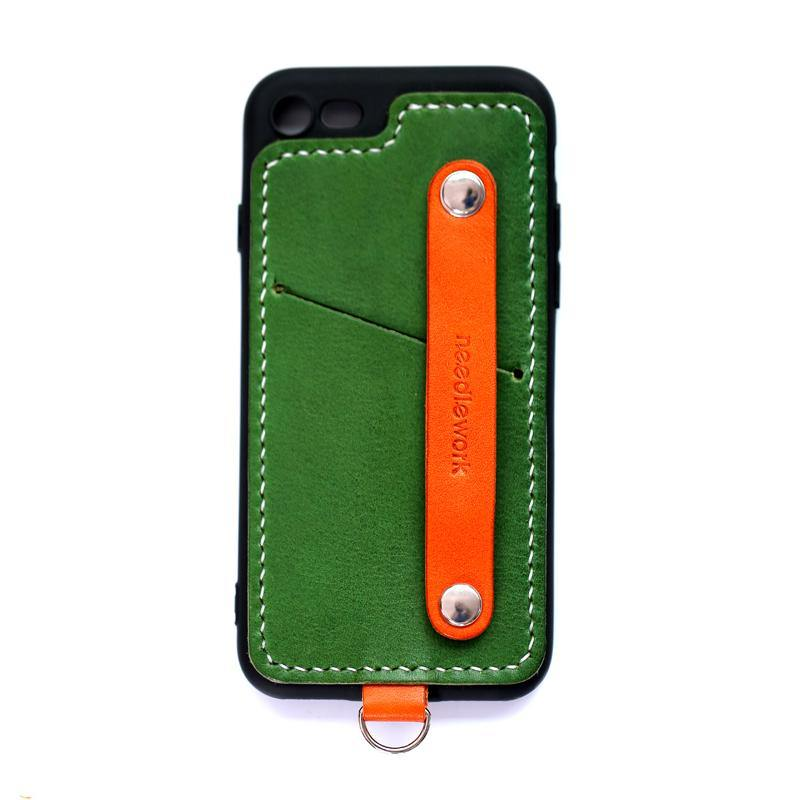 Handmade Green Leather iPhone SE2 SE Case with Card Holder CONTRAST COLOR iPhone SE Leather Case