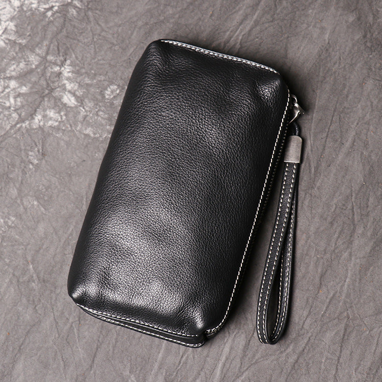 Cool Leather Black Long Wallet for Men Vintage Brown Zipper Clutch Wristlet Wallet for Men