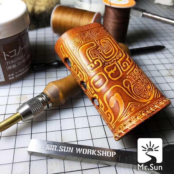 Handmade Tooled Rune Leather Brown Mens DICODES BOXMINI Holder Cigarette Case for Men