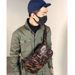 Cool Leather Mens Camouflage Chest Bag Sling Bag Crossbody Pack Black One Shoulder Backpack for men