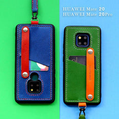 Handmade Blue Leather Huawei Mate 20 Pro Case with Card Holder CONTRAST COLOR Huawei Mate 20 Pro Leather Case