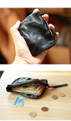 Vintage Slim Brown Leather Mens Coin Wallet Zipper Coin Holder Change Pouch For Men