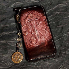 Badass Black Leather Men's Long Biker Handmade Wallet Ganesha Tooled Zipper Chain Long Wallets For Men