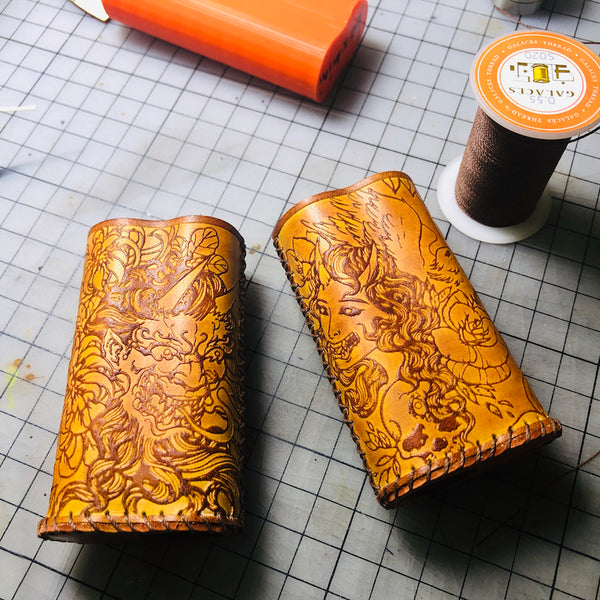 Handmade Tooled Prajna Leather Brown Mens DICODES BOXMINI Holder Cigarette Case for Men