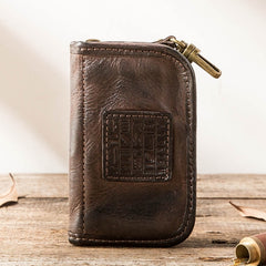 Black Leather Mens Key Holder Wallet Car Key Wallet Key Holder Card Holder For Men