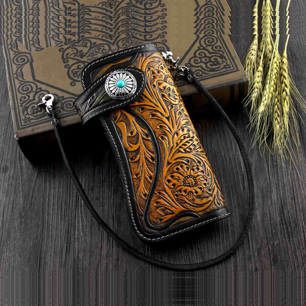 Handmade Tooled Black Leather Mens Biker Chain Wallet Long Biker Wallet with Chain for Men