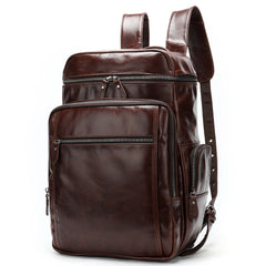 Cool Black Mens Leather 15 inches Large School Laptop Backpack Dark Brown Travel Backpack for Men