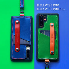 Handmade Blue Leather Huawei P30 Case with Card Holder CONTRAST COLOR Huawei P30 Leather Case