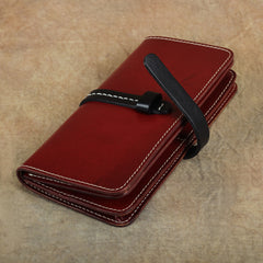Handmade Womens Leather Long Wallet Bifold Long Wallets Card Wallet Clutch Wallet for Ladies