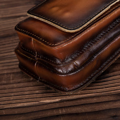 Oiled Brown Leather Cell Phone Retro Belt Pouch for Men Waist Bags BELT BAG For Men